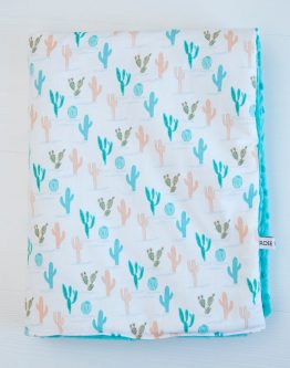 couverture bébé tropical mint cactus -roseboho