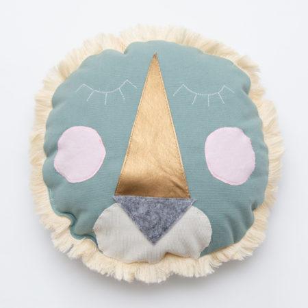 coussin lion vert céladon-rose boho