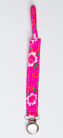 attache sucette fleur fushia-rose boho