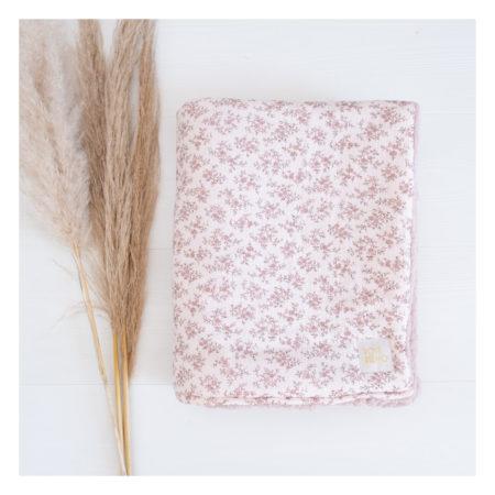 couverture bébé double gaze fleurs rose- rose boho